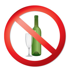 No alcohol drink sign prohibition icon ban liquor vector