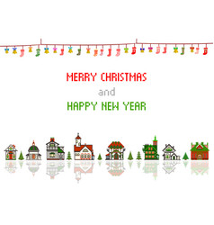 Retro pixel christmas greeting card with houses vector