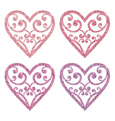 set collection of ornamental pink glitter hearts vector image