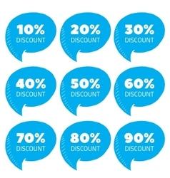 Set of blue percent discount speech bubble sale vector