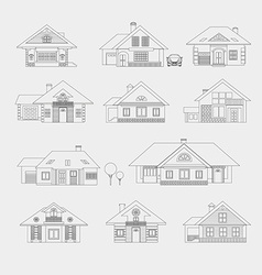 Set of single-storey houses vector