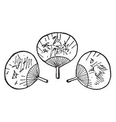 Three fans vintage vector
