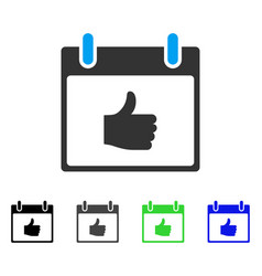 Thumb up calendar day flat icon vector