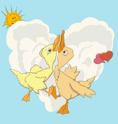 Two ducks swirl in love dance vector