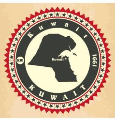 Vintage label-sticker cards of kuwait vector