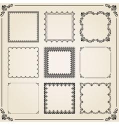 Vintage Set of Square Elements vector image