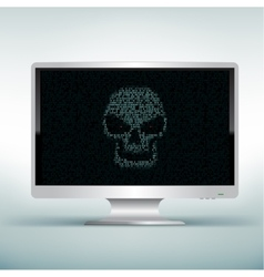 White monitor with skull code vector