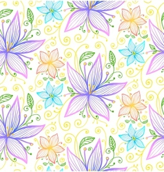 Blue and violet flowers seamless pattern vector