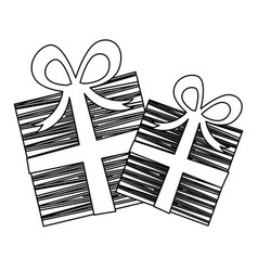 silhouette set collection striped gift box with vector image