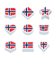 Norway flags icons and button set nine styles vector