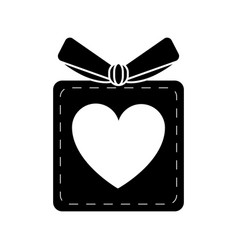 Silhouette gift box heart love present vector
