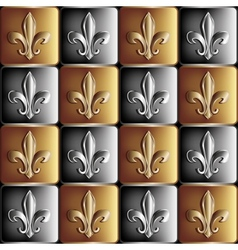 Gold and silver seamless pattern the royal lily vector