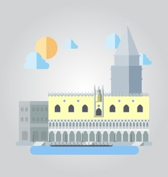 Flat design of italian building cityscape vector