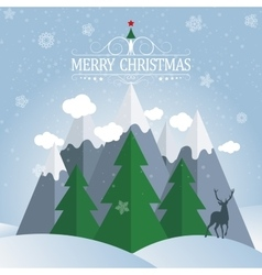Christmas card winter holidays landscape vector
