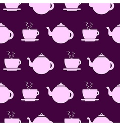 Background with elements of kettle and cup vector