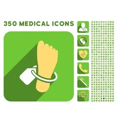 Mortuary foot tag icon and medical longshadow icon vector