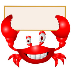 Crab cartoon with blank sign vector