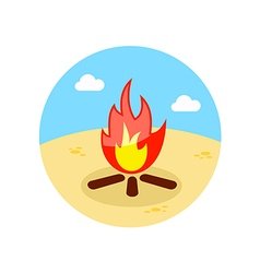 Bonfire icon summer vacation vector