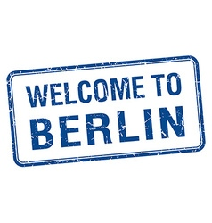 Welcome to berlin blue grunge square stamp vector