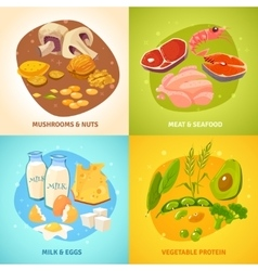 Protein food concept 4 icons square vector