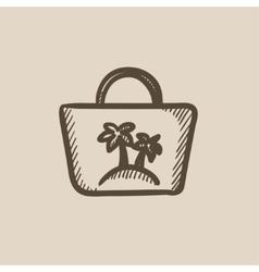 Beach bag sketch icon vector
