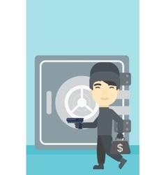 Burglar with gun near safe vector