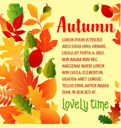 Autumn leaf fall greeting poster vector