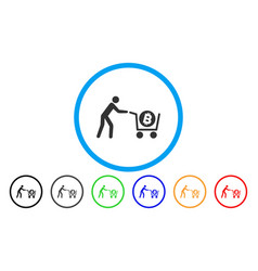 bitcoin purchase cart flat icon vector image