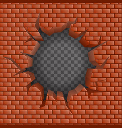 Brick wall hollow crack hole transparent vector