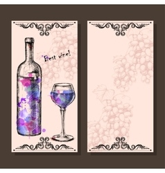 Card with grapes wine on hand-drawing style vector