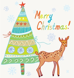 Christmas card with tree and deer vector image