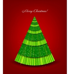 Christmas red background with green tree vector image vector image