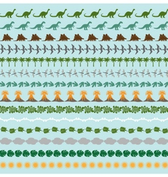 Dinosaur border patterns vector