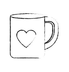 Figure cup to drink with heart design vector