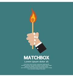 Flaming Match Stick In Hand vector image vector image