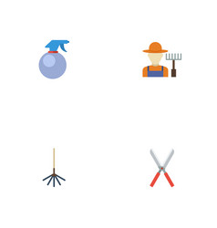flat icons grower spray bottle scissors and vector image