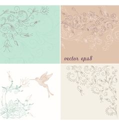 floral background set vector image vector image