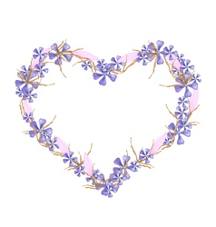 Geranium and equiphyllum flowers in a heart shape vector