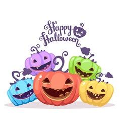 halloween of heap decorative pumpkins of dif vector image vector image