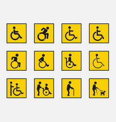handicap sign set disabled icons vector image vector image