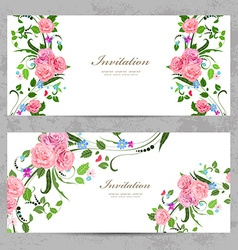 invitation cards with beautiful flowers for your vector image vector image