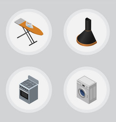 isometric device set of stove air extractor vector image