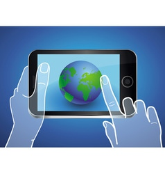 mobile phone with globe icon on the screen vector image vector image