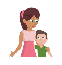 mother hugging son lovely vector image vector image