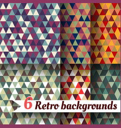 retro backgrounds of triangles a set 6 items vector image vector image