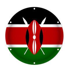 Round metallic flag of kenya with screw holes vector