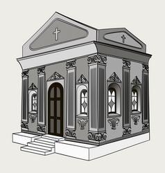 Shades of gray crypt cemetery church vector