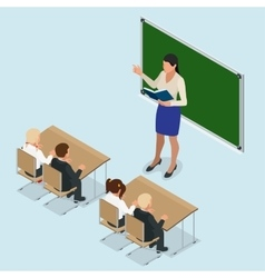 sometric School lesson Little students and vector image vector image