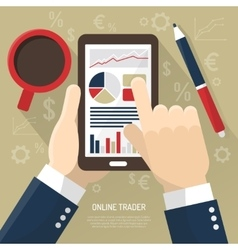 Stock market on smartphone vector