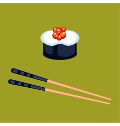 Sushi food and chopsticks vector